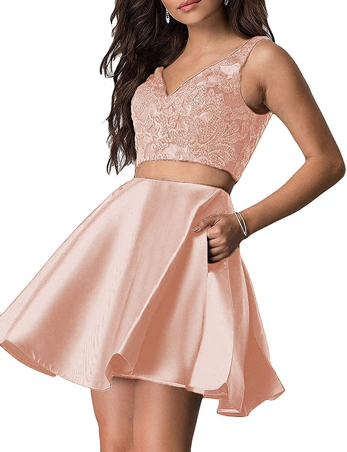 Amazon Com Hofndolce Women S V Neck Two Piece Homecoming Dresses Sequin Short With Pockets Prom Gowns Rosegold 4 Clothing