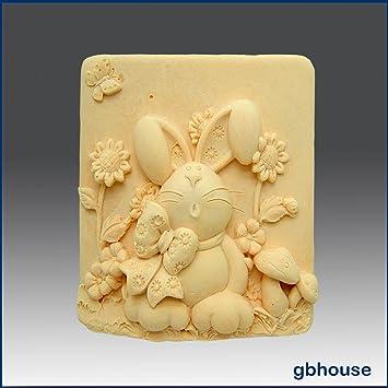 Conejo, lazo y margaritas - detalle de alta alivio escultura - silicona jabón/arcilla de polímero de//Porcelana fría Mold: Amazon.es: Juguetes y juegos
