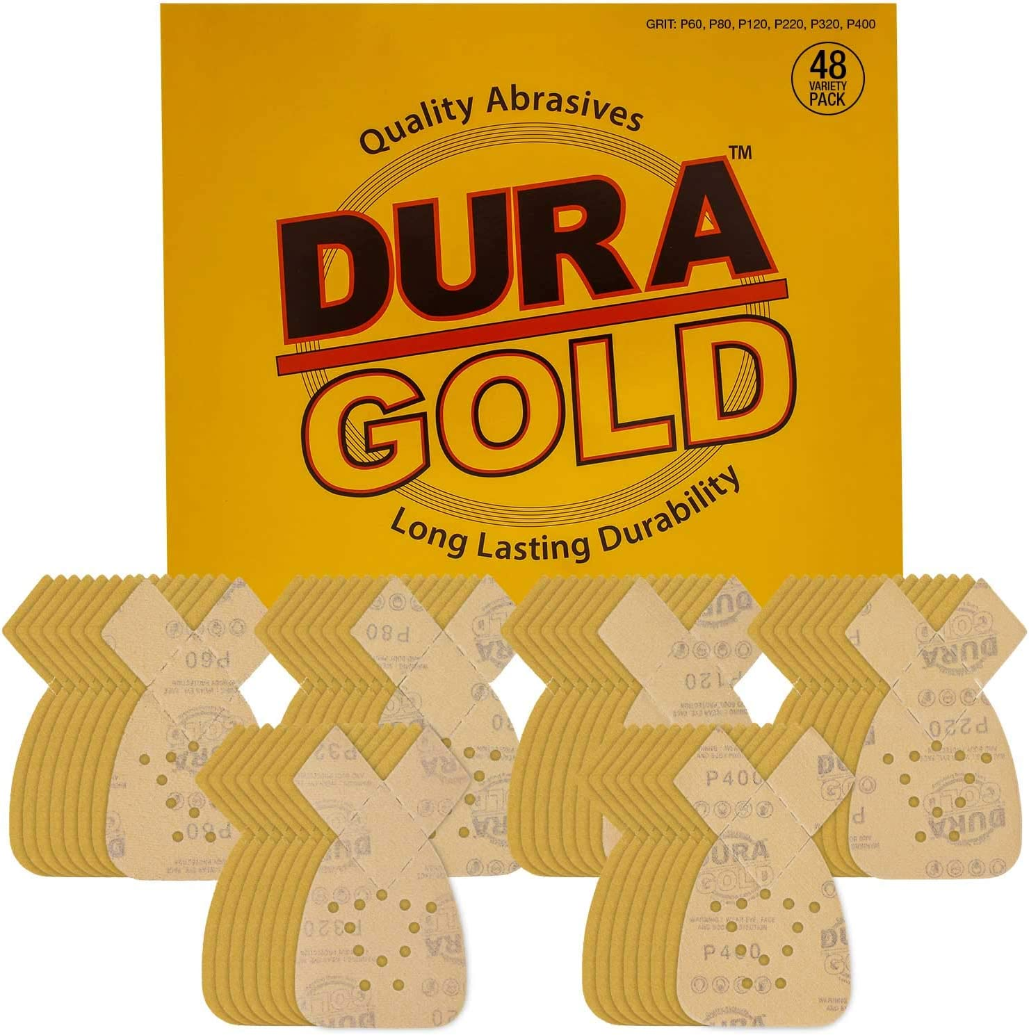 Dura-Gold - Premium Hook & Loop - 48 Sheet Variety Pack (60,80,120,220,320,400) Grit 12-Hole Hook & Loop Sanding Sheets for Mouse Sanders - Box of 48 Sheets fits Black and Decker mouse sanders