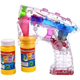 S/O® LED Seifenblasenpistole incl. 2x50ml Seifenblasen Flüssigkeit OHNE BATTERIEN Pistole Bubble Gun