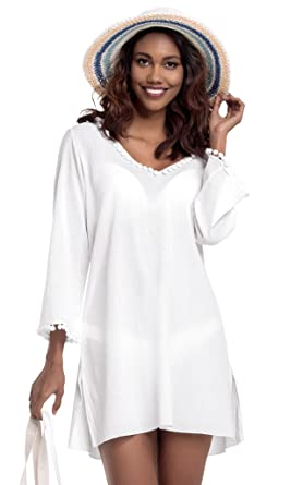 143b66d6846203 White by Nature Women's Long Sleeve Beach Tunic Hooded Cotton Cover-Up S