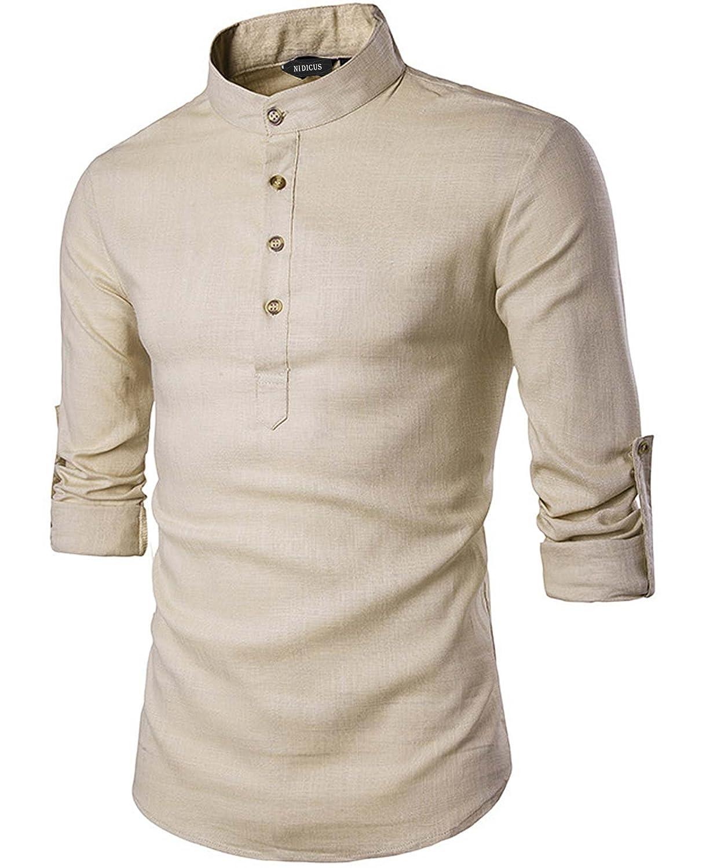 Nidicus Mens Natural Linen /& Cotton Button Stand Collar Long Sleeve Shirt
