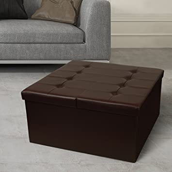 Otto Ben 30 Storage Coffee Table With Smart Lift Top Tufted Folding Faux Leather Trunk Ottomans Bench Foot Rest Square Chocolate