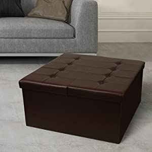 """Otto & Ben 30"""" Storage Coffee Table with Smart Lift Top Tufted Folding Faux Leather Trunk Ottomans Bench Foot Rest, Square, Chocolate"""
