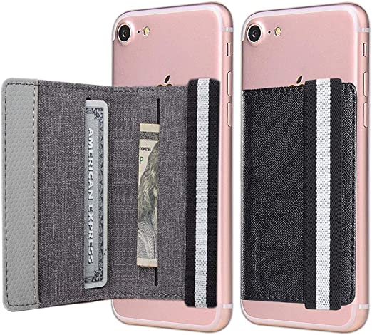 Card Holder for Back of Phone,Pu Leather RFID Blocking 5 Pull Credit Card Cash Cell Phone Wallet Pocket Stick on Back iPhone