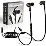 Back Bay 3-in-1 Wireless & Wired USB-C Headphones [Bluetooth, USB Type C, Aux 3.5mm Cables] Sweatproof Earbuds Bass…