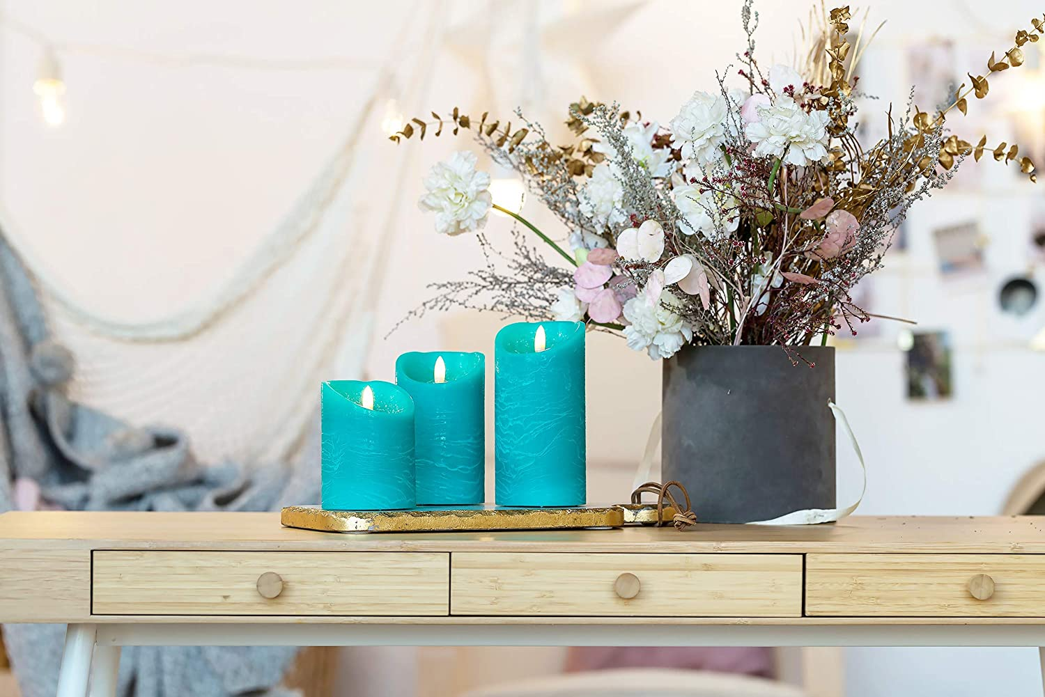 Venta Set of 3 Realistic Flameless Green LED Candles with Remote Control 4 5 6 Electric Wickless Pillar Battery Operated Candles with Flickering Flame Timer