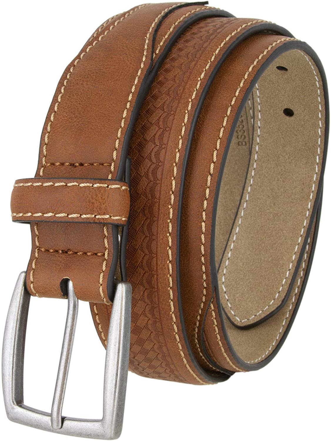 New Brown Color California Mens Basketweave Design Leather Belt Antique Silver Buckle 1 3//8 Wide
