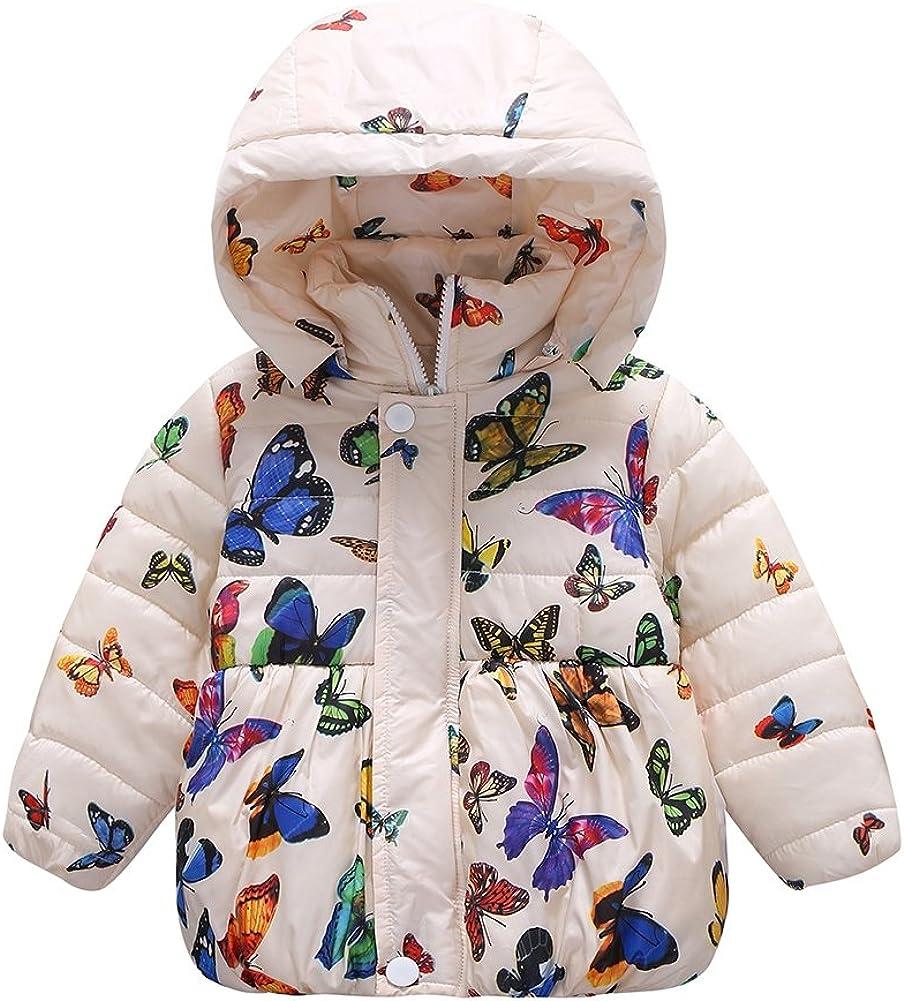 BOBORA Ropa De Invierno Ni/ña De La Mariposa Beb/é De Impresi/ón De Dibujos Animados Moda Ni/ña Abrigo De Algod/ón Engrosamiento Chaqueta