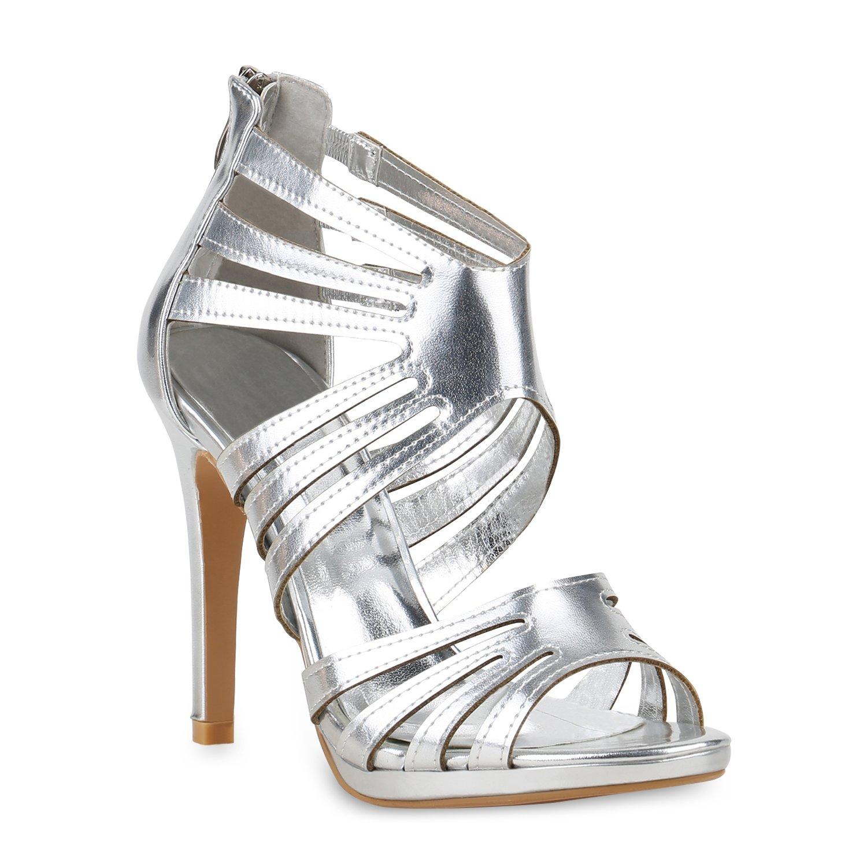 Stiefelparadies Damen Sandaletten High Heels mit Pfennigabsatz Strass Nieten Flandell Silber Metallic Camargo