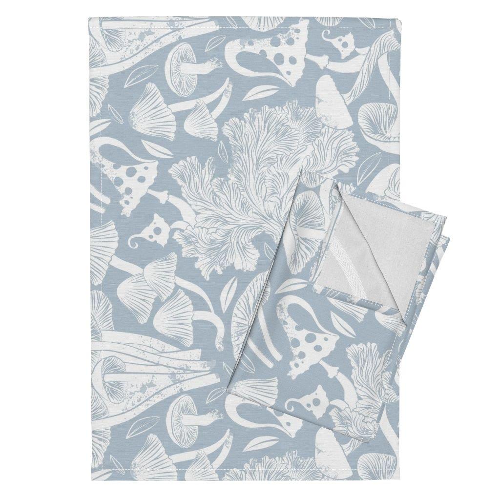 Mushroom Winter Botanical Block Print Tea Towel Roosteryfqteatowel Wood Rustic Fall Tea Towels Delicious Autumn Botanical by Selmacardoso Set of 2 Linen Cotton Tea Towels by Roostery (Image #1)