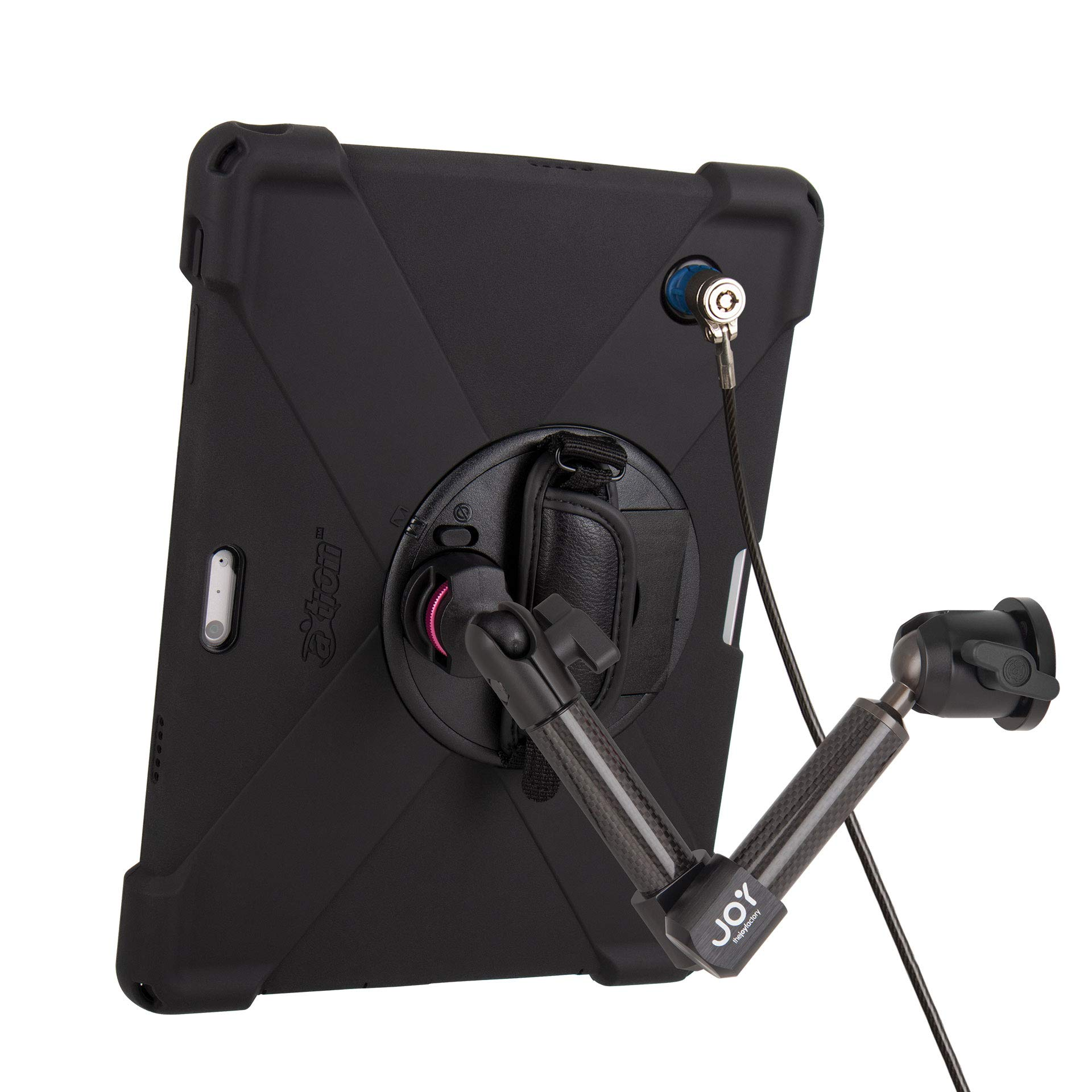 The Joy Factory MagConnect Carbon Fiber Wall/Counter Mount w/aXtion Bold MP Water-Resistant Rugged Security Case for Surface Pro 4/5/6, Built-in Screen Protector, Hand Strap, Kickstand (MWM3004MPS)