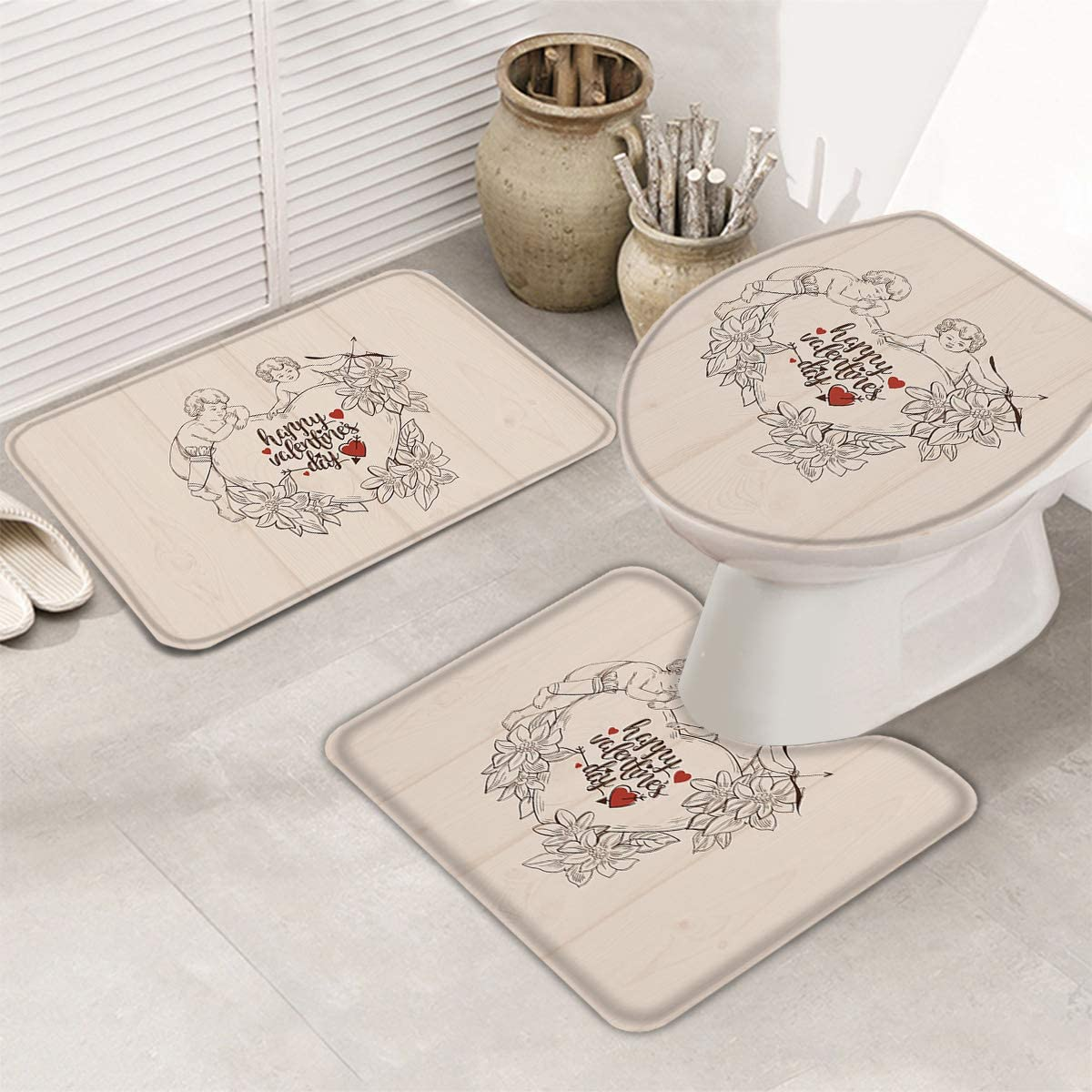 Amazon.com: Valentines 10 Piece Bath Rugs Sets Happy Valentines Day