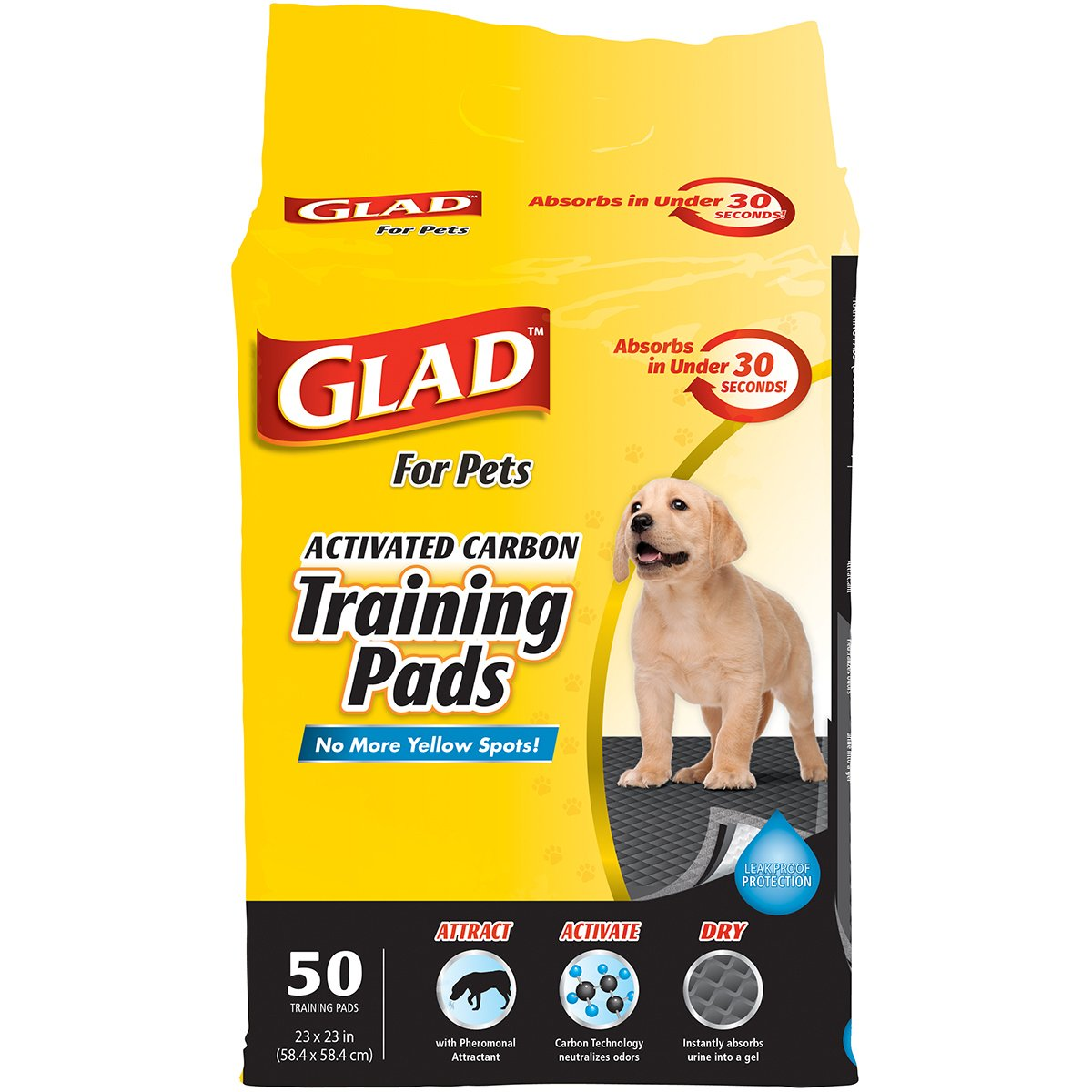 Glad for Pets Activated Carbon Dog Pee Pads   Best Puppy Pads For Absorbing Odor and Urine Quickly   Eliminates Urine Odor on Contact, 50 Count, Black