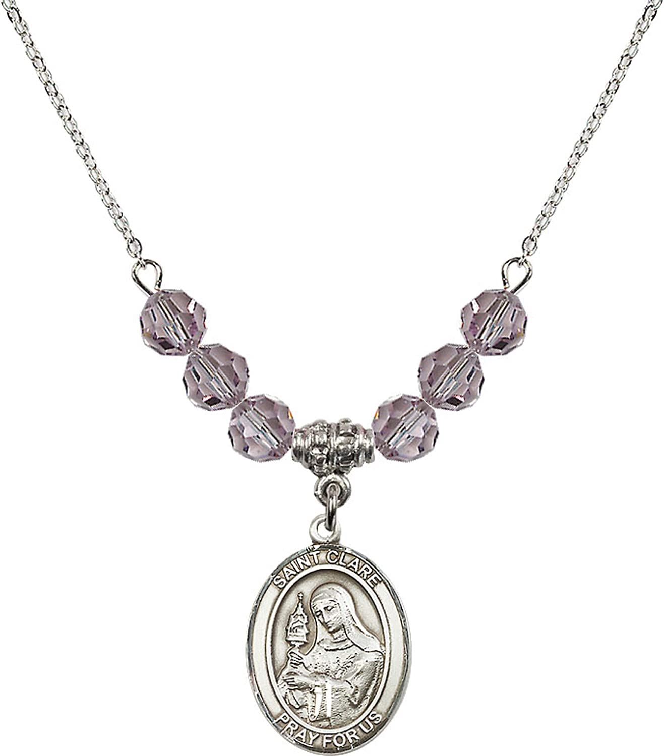 Bonyak Jewelry 18 Inch Rhodium Plated Necklace w// 6mm Light Purple February Birth Month Stone Beads and Saint Clare of Assisi Charm