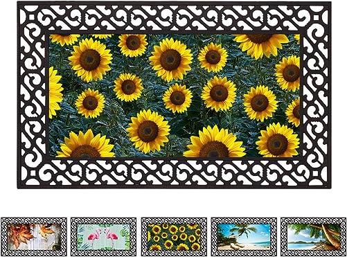 E-view Rubber Door Mat Entrance Rug Indoor Outdoor Welcome Mat, Durable Doormat Decorative Floor Mats for Entry Home Patio Garden Sunflower
