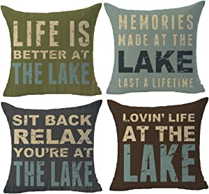 "GAWEKIQE Set of 4 Life is Better at The Lake Memories More at The Lake Sit Back Relax Cotton Linen Throw Pillow Cover Cushion Case Holiday Square 18"" X18Inch Gift Decorative Pillow Family"