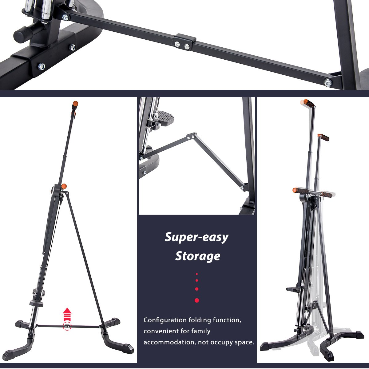 Merax Vertical Climber Fitness Climbing Cardio Machine Full Total Body Workout Fitness Folding Climber 2.0 (Black) by Merax (Image #3)