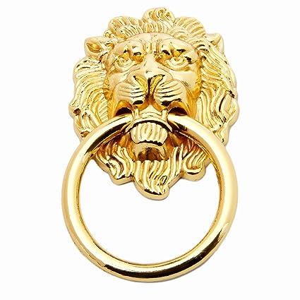 5pcs Gold Lion Head Pulls For Dresser, Drawer, Cabinet, Door Handles Knobs (