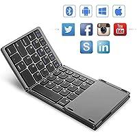 Mini teclado Bluetooth plegable con panel táctil, teclado ultraligero tri- plegable plegable para iPhone iPad Samsung Smartphone Tablet, teclado inalámbrico BT con diseño ergonómico Batería recargable,Black