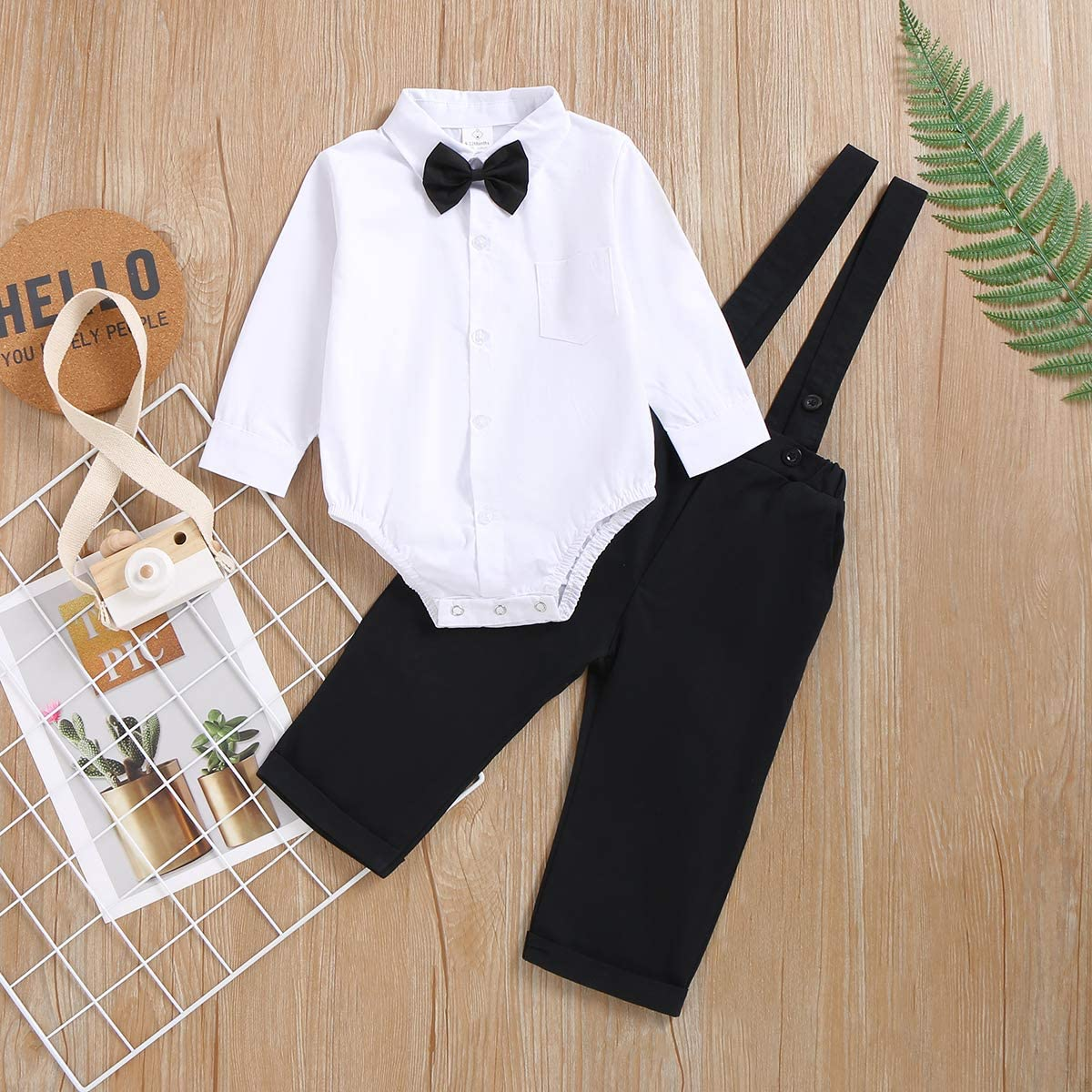 OPAWO 3Pcs Baby Boys Gentleman Outfit Set,Formal Wear Shirt+Bowtie+Suspenders Pants for Infant Birthday Party Cake Smash Photo Shoot Wedding Christening