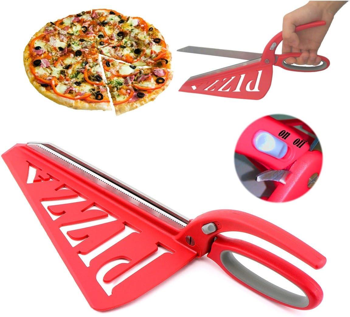 Home Papa Tijera de la pizza del acero inoxidable con la espátula y el interruptor de seguridad desprendibles, rojo, 13 pulgadas: Amazon.es: Hogar