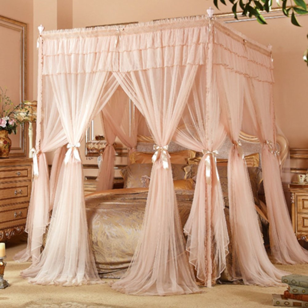 KQCNIFVNKLM Pink four corner mosquito net bed canopy,Floor-standing three-door princess bed canopy mosquito net netting curtains-A Queen2
