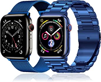 baklon 2 Pezzi Compatibile con Cinturino Apple Watch 38mm 40mm 41mm 42mm 44mm 45mm, Correa Deportiva de Dcero Inoxidable de Repuesto Compatible con iWatch Series SE/7/6/5/4/3/2/1