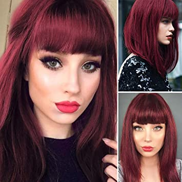 Amazon Com Wujie Shoulder Length Red Wigs For Women Bob Wig Bangs Straight Wigs Short Hair Costume Wine Red Beauty