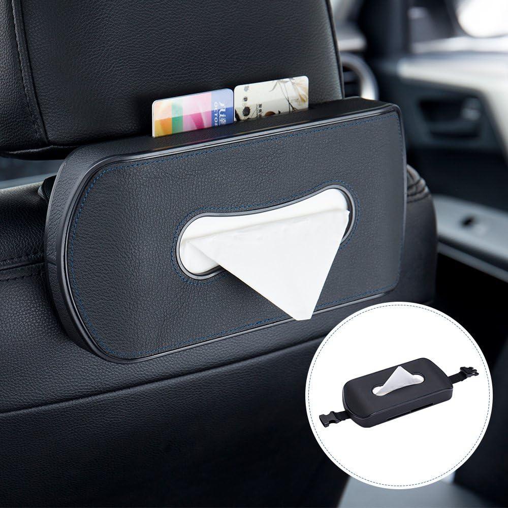 Backseat Tissue Organizer Beige Easy Refill Best for Auto Sedan SUV Truck Premium PU Leather 2pcs Tissue Holder Set: 1 Clip-on Style for Sun Visor Headrest Moonroof /&1 Buckle Style for Armrest