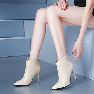SHOEES Mode Européenne Et Américaine Dames Bottes Automne Bottes Simples Talons Hauts avec des Bottes Minces Minces Martin Bottes Nues