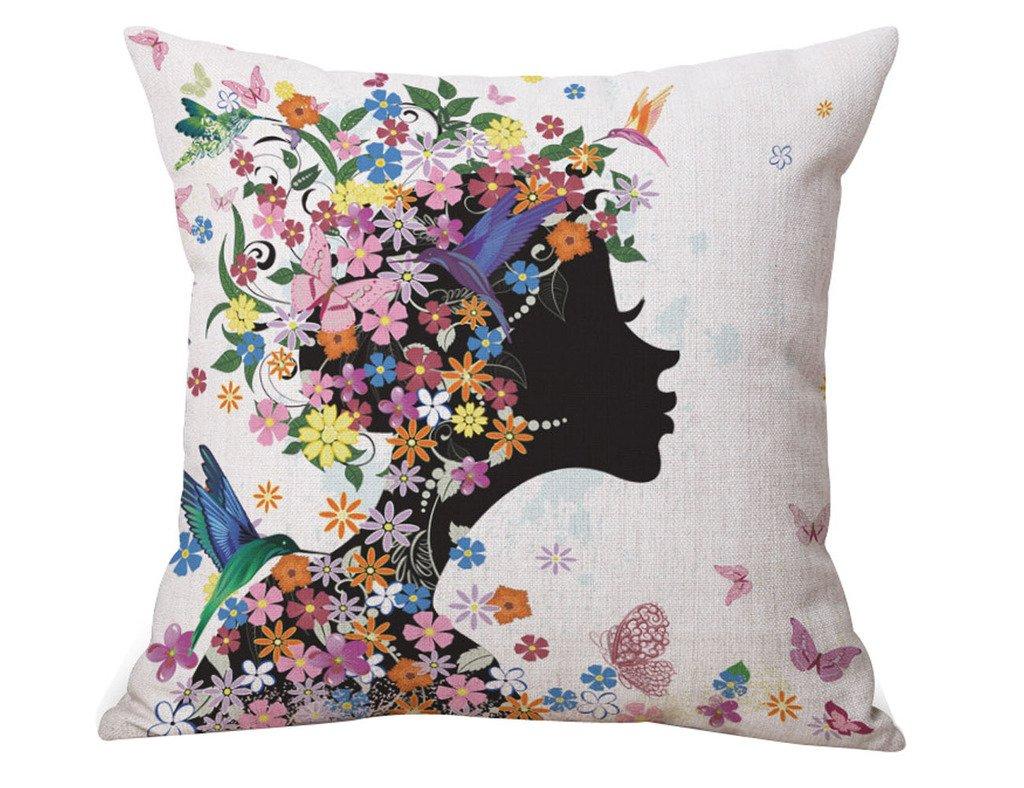 InTheHouse lino y algodón cojines decorativos para sofá hadas de flores 45,72 cm x 45,72 cm: Amazon.es: Hogar