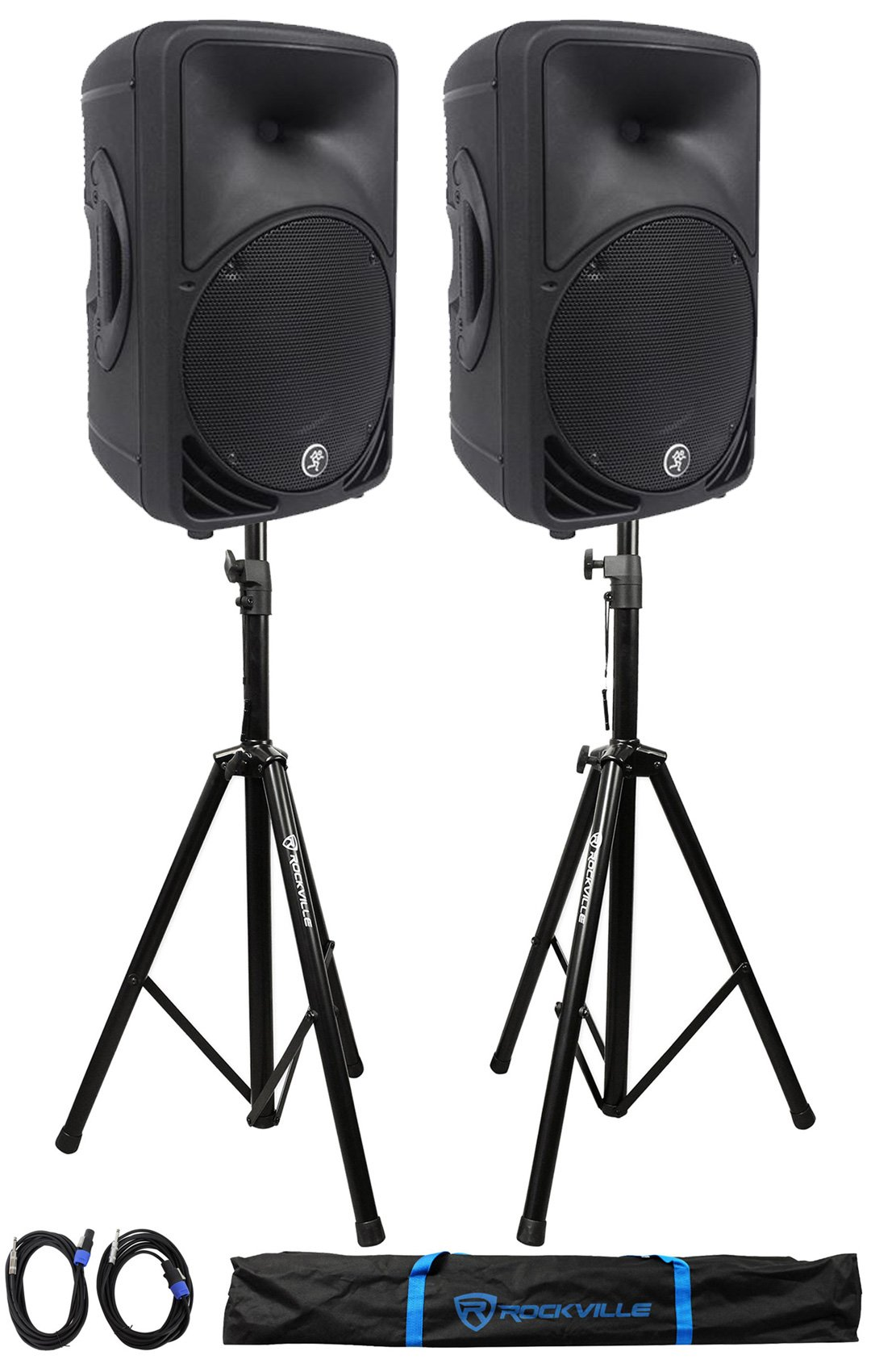(2) Mackie C200 10'' 2-Way Passive SR PA Speakers+ 2)Stands +2)Cables +Carry Case