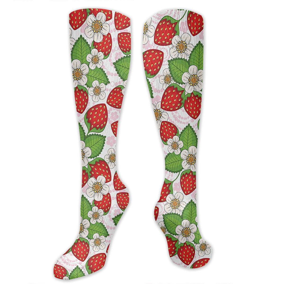 Chanwazibibiliu Floral Pattern with Strawberries Flowers Mens Colorful Dress Socks Funky Men Multicolored Pattern Fashionable Fun Crew Cotton Socks