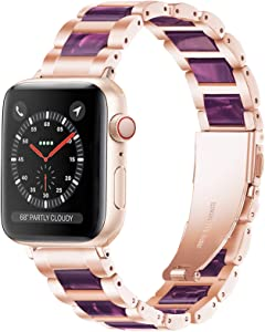 Light Apple Watch Band - Resin with Stainless Steel Luxury iWatch Band Bracelet Compatible with Comfortable Stainless steel buckle for Apple Watch Series SE 6 5 4 3 2 1 (Rose-Light Purple, 38mm/40mm)