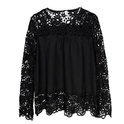 Eleery nueva moda mujeres sólido encaje ganchillo gasa camisa Sheer manga larga Hollow Out bordado Top