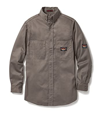 6c36f1cfc4f8 Amazon.com  Rasco FR Gray Dress Shirt 7.5 oz Flame Resistant Lightweight  GFB750  Clothing