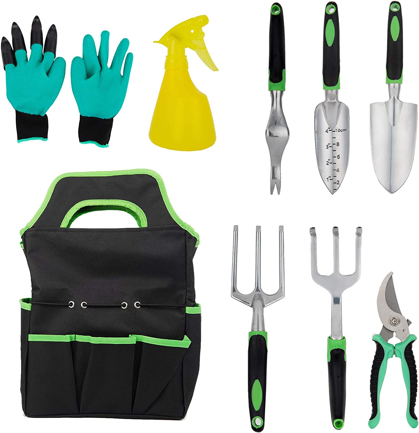 JADINIER 9Pcs Garden Tools Set, Extra Succulent Tools Set, Soft Rubberized Non-Slip Handle Hand Tools Kit with Garden Gloves and Storage Pocket, Aluminum Outdoor and Indoor Hand Tools Work Set