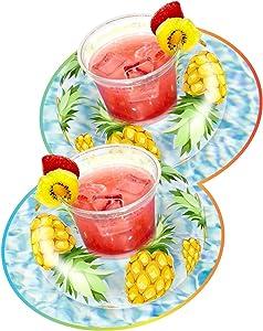 Poolcandy Glitter Drink Pool Float, Set of 2, Tropical Fruit