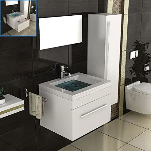 Badmöbel Set Für Das Badezimmer In 60x45 Cm Weiß Hochglanz, Mineralguss  Waschbecken Und Unterschrank Idea
