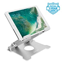 Tablet Stand, Boyata Tablet Holder: Multi-Angle Stand with Heat-Vent to Elevate Tablet, Adjustable Portable Tablet Support Stand for Tablets, Smartphones (4-13 inch) including iPad, Kindle, iPhone X(Silver)