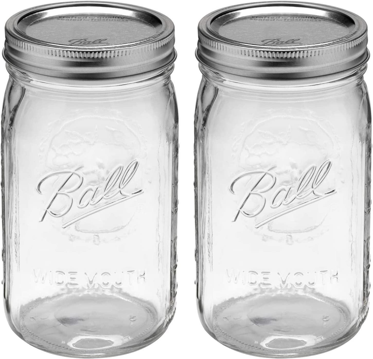 Ball Wide Mouth 32-Ounces Quart Mason Jars with Lids and Bands, Set of 2