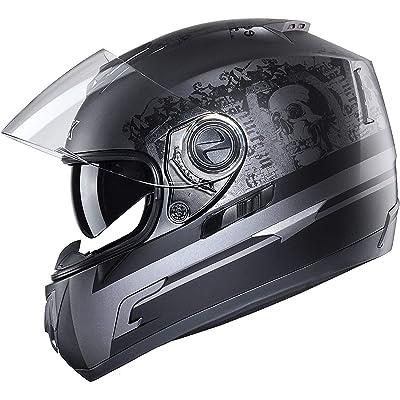 GLX Unisex-Adult GX15 Lightweight Full Face Motorcycle Street Bike Helmet with Internal Sun Visor DOT Approved (Ghost, X-Large): Automotive