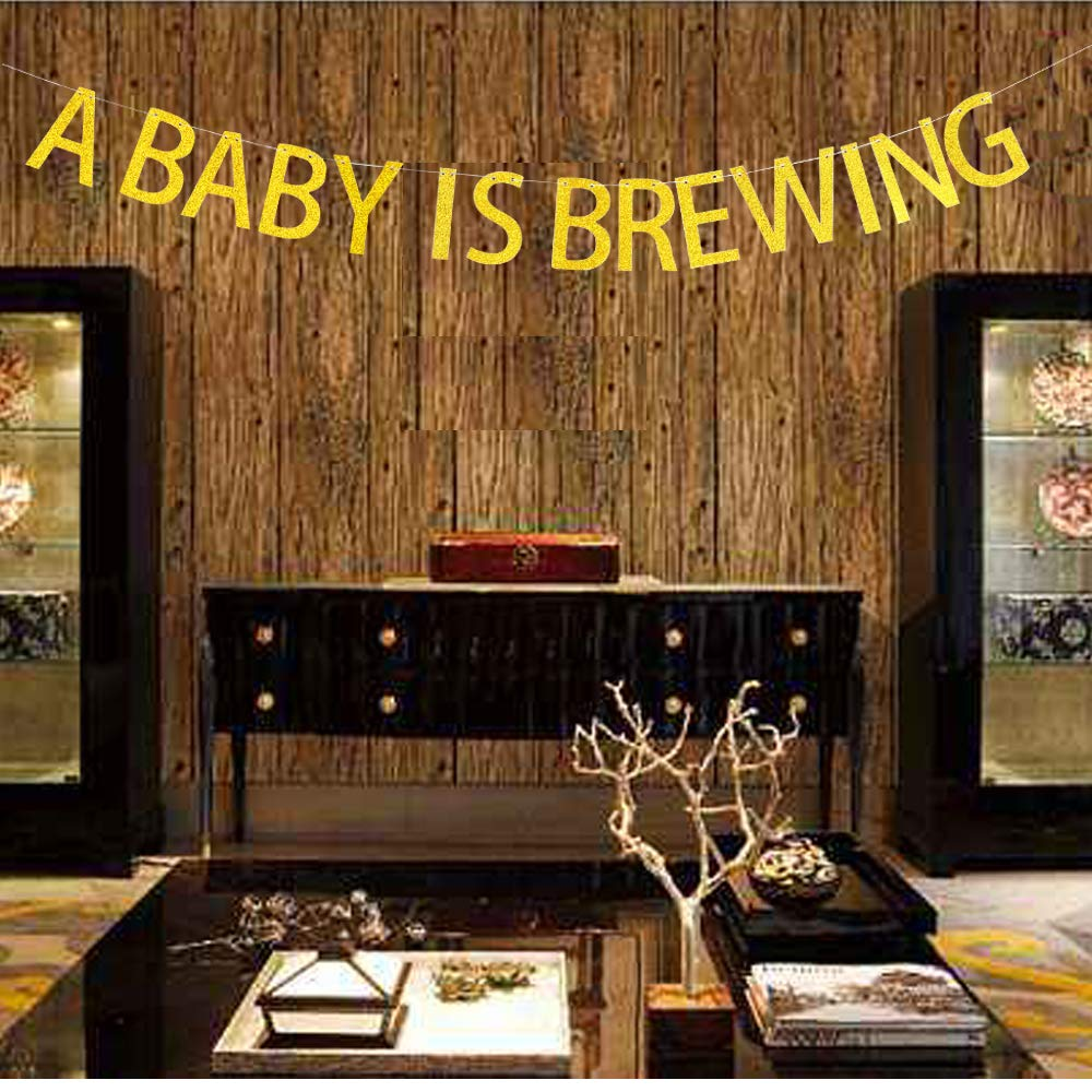 A Baby is Brewing Banner Hanging Decor for Baby Shower,Baby Girl or Boy Birthday Party Decorations Gold Banner Pertlife