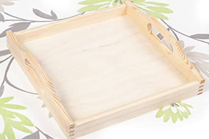 Bandeja para servir de madera sin pintar SQUARE NEW 5 x 24 cm/para decorar