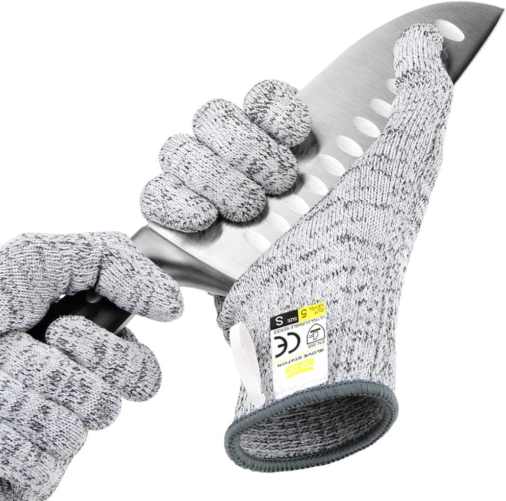 Glove Station Ultra Durable Series Cut Resistant Gloves - High Performance Level 5 Protection, Food Grade, Granite Gray, Medium Size, 1 Pair