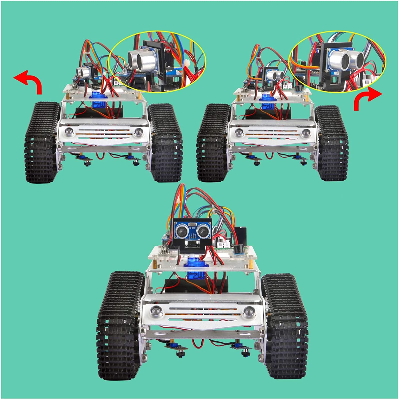 KOOKYE Roboter-Fahrgestell Smart Panzer Plattform Metall Edelstahl 2DW Motor Motor Motor 9V für Arduino/Raspberry Pi DIY (TR300) cb2127