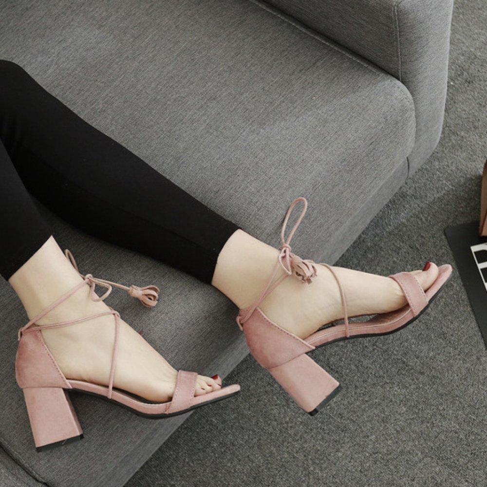ALBOC Heel Damen Sandalen Block Heel ALBOC Cut Out Sexy Knöchelriemen Pumps Damen Peep Toe Schöne Riemchen Kleid Prom Schuhe Pink 4c0caf