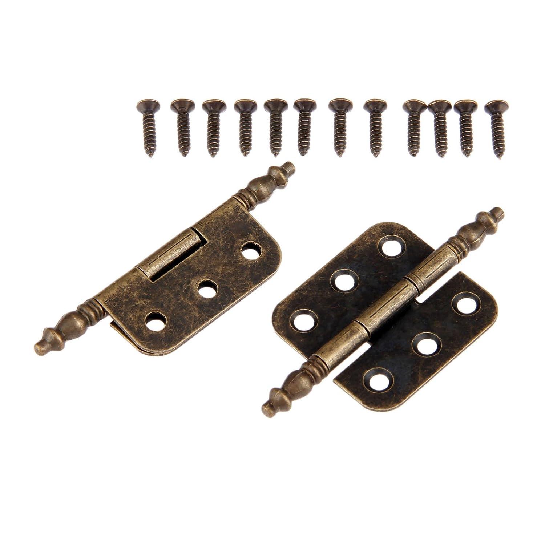 dise/ño vintage caja de madera caja de herramientas dophee 2pcs 35/x 70/mm de hierro Bronce Envejecido corona cabeza 6/agujeros bisagras para armario