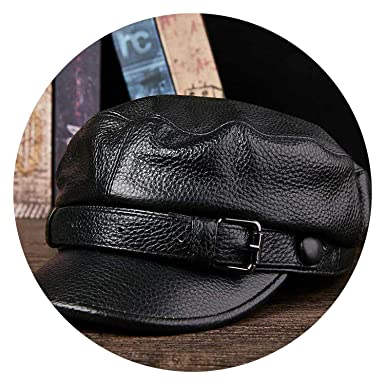 32fe711137d Image Unavailable. Image not available for. Color  Top Genuine Leather  Military Cap ...